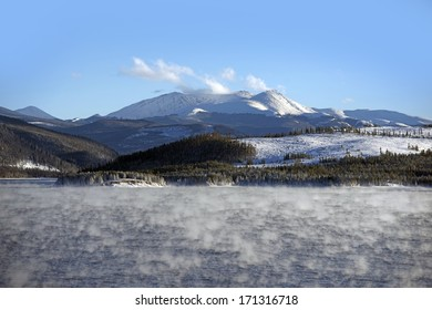 Lake Water Vapor in Winter. Very Low Temperature  Water Vapor and Heat Exchanges. Colorado Landscape. Dillon Reservoir.