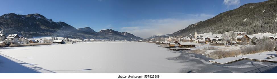 lake weissensee in winter in carinthia,austria