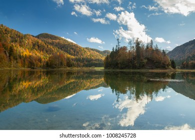 Lake Weitsee with reflection near Reit im Winkl in Bavaria Germany