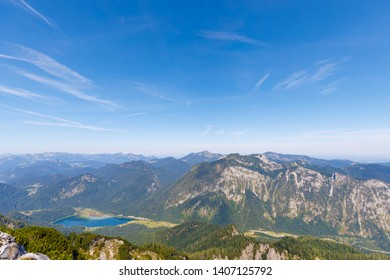 Lake Weitsee, view from Mountrain Dürrnbachhorn, aerial view