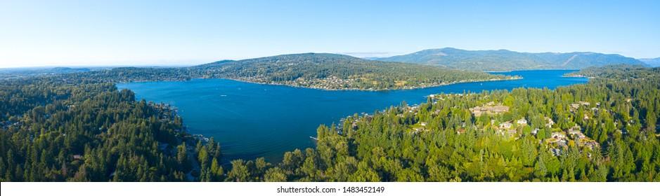 Lake Whatcom Aerial Panoramic Overview Bellingham Washington