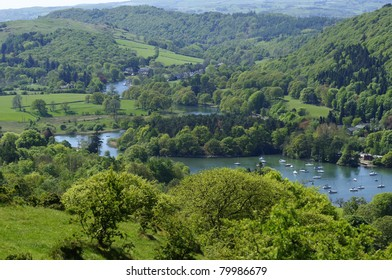 Lake Windermere from Cartmell Fell in Lake District National Park Cumbria England