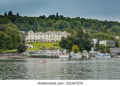 LAKE WINDERMERE, CUMBRIA, ENGLAND - OCT 18th 2014: A unique view towards The Belsfield Hotel,at  Lake Windermere, Cumbria, England.