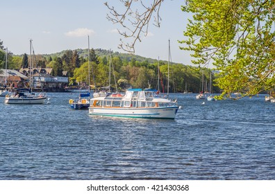 Lake Windermere, Fell Foot, Cumbria, UK. May 9th 2016. Passenger Ferry sailing on Lake Windermere