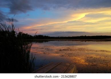 Lake Wingra Sunset Overlooking University of Wisconsin Arboretum in August