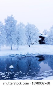 A lake in winter after snow fall