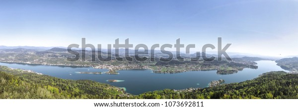 Lake Woerth Panorama View From Pyramidenkogel In Carinthia Austria