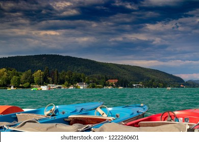 Lake Woerthersee in Carinthia, Austria
