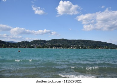 Lake Woerthersee (Wörthersee) in Carinthia - it is a quiet windy day