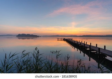 Lake Woerthsee in Bavaria at sunrise