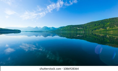 Lake Wolfgangsee, Salzkammergut,  Austria,  on a sunny spring morning