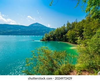 Lake Wolfgangsee, Salzkammergut, Austria, on a sunny summer day