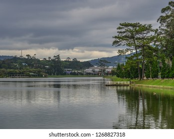Lake Xuan Huong at sunset in Dalat, Vietnam. Dalat is located 1,500 m above sea level in the Central Highlands region.