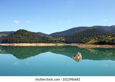 Lake Zaovine Tara mountain landscape summer season