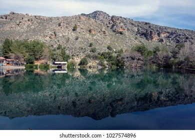 Lake at zaros village crete greece