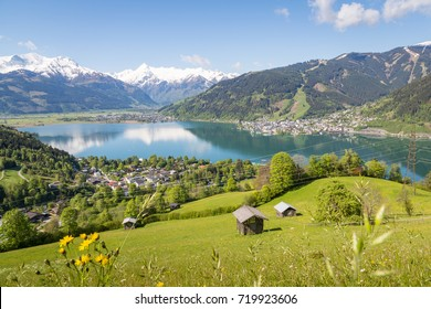Lake Zell in summer with Kitzsteinhorn glacier, Salzburg, Austria
