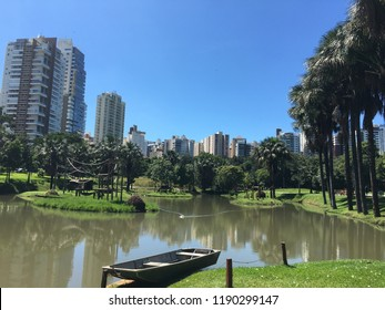 Lake at the zoo surrounded by residential buildings in Goiania, Goias, Brazil