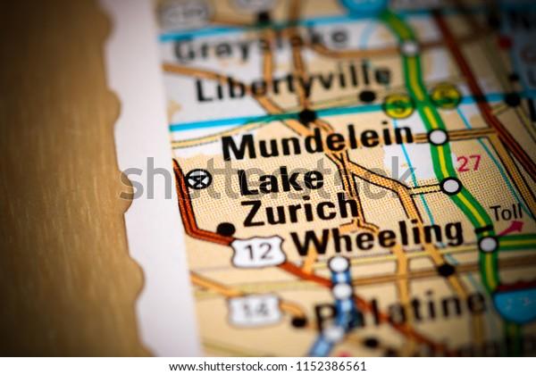 Lake Zurich Illinois Usa On Map Stock Photo Edit Now 1152386561