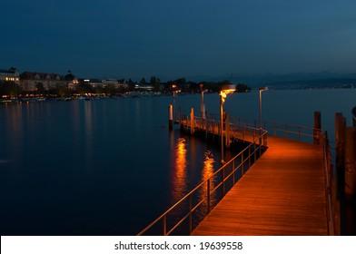 The Lake of Zurich at night (Switzerland)