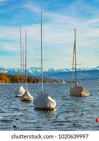 Lake Zurich in Switzerland, summits of the Alps in the background - view from the city of Zurich in the autumn evening.