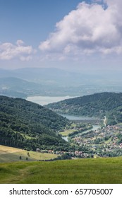 Lake Zywieckie in Polish Beskid seen from Gora Zar
