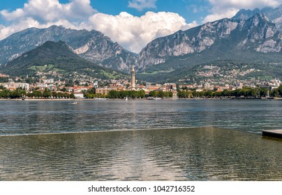 Lakefront of Malgrate located on the shores of Como Lake with view to Lecco city, Italy