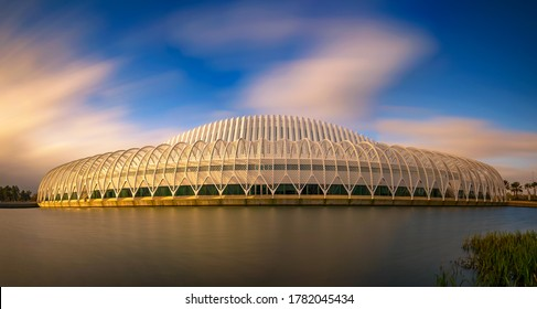 Lakeland, Florida - January 11, 2020 : Innovation, Science and Technology Building of Florida Polytechnic University. Long exposure.