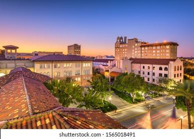 Lakeland, Florida, USA downown cityscape at city hall during dusk.