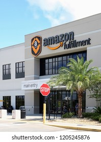 LAKELAND, FLORIDA, USA - OCTOBER:   Amazon Fulfillment Center and distribution warehouse.  Amazon is the Largest Internet-Based Retailer in the United States, as seen on October 6, 2018.