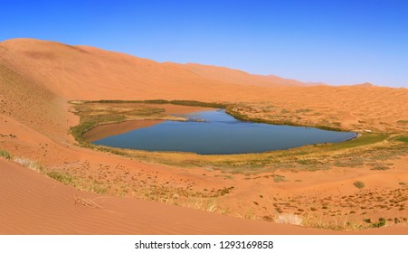 Lakes in the desert oasis of Badain Jaran, Inner Mongolia, China