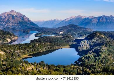 Lakes landscape,  Cerro Campanario viewpoint near Bariloche in Nahuel Huapi National Park, Patagonia region in Argentina.