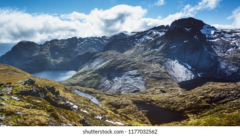 Lakes and mountaintops near the fishing village of Sorvagen on the Lofoten Islands, Norway.