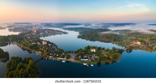 Lakes view from above. Trakai, Lithuania. Famous destination in Lithuania. Aerial drone landscape.
