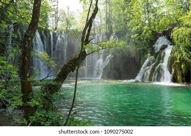 Lakes and waterfalls at Plitvice Plakes National Park in Croatia