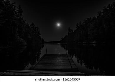 Lakeside Dock in the Moon Light