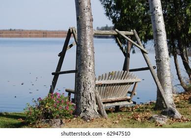 Lakeside Log Swing Serenity