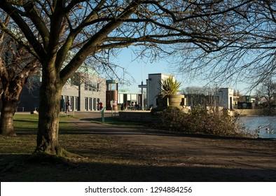 Lakeside park buildings background