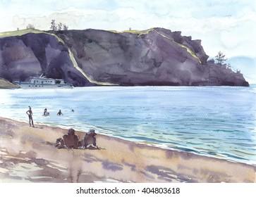 Lakeside, sandy shore, sunny day, surf, boat, tourists sunbathe