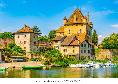 Lakeside view of Castle in French city Yvoire