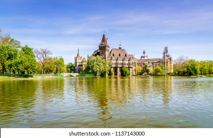 Lakeside view of Vajdahunyad Castle in Budapest City Park