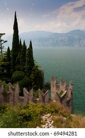 Lakeside wall  at Lake Garda
