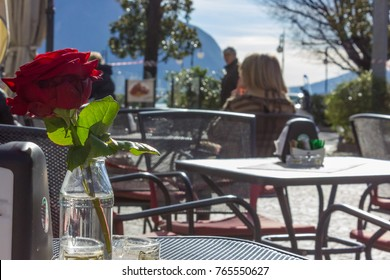 lakeview lago maggiore morning relaxing at cafe on a springtime sunny day in verbania italy on holiday