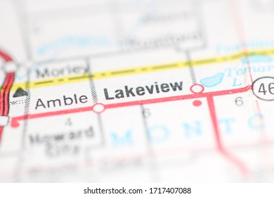 Lakeview. Michigan. USA on a geography map.