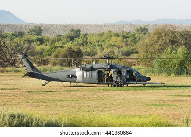 Lakeview Terrace, USA - June 18, 2016: U.S. Army Sikorsky UH-60 Black Hawk helicopter  during Los Angeles American Heroes Air Show, event designed to educate the public about rotary-wing aviation.