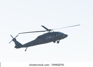 Lakeview Terrace, USA - November 4, 2017:  U.S. Army's Black Hawk Helicopter  helicopter during Los Angeles American Heroes Air Show, event designed to educate the public about rotary-wing aviation.