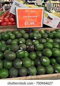 LAKEWOOD, CO - AUGUST 29, 2017: Price drop on avocados at Whole Foods Market after Amazon.com's $13.7 billion acquisition of Whole Foods on 8/28. Amazon has committed to lowering prices at the store.