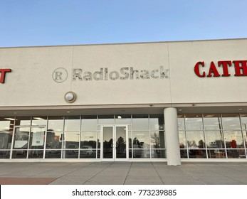 LAKEWOOD, CO - DECEMBER 9, 2017: Sign & logo silhouette of a former RadioShack store.  RadioShack went through two bankruptcies in 2015 & 2017, and has closed thousands of its stores by fall 2017