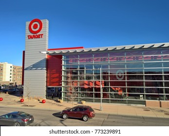 LAKEWOOD, CO - DECEMBER 9, 2017: 2-story Target retail store.  Minneapolis-based Target builds multistory stores in urban areas, with parking underneath, to save land and reduce environmental impacts.