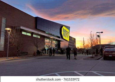 LAKEWOOD, CO - NOVEMBER 23, 2017: Shoppers line up at Best Buy in advance of their 5pm opening on Thanksgiving evening during Black Friday sales.  Crowds are thinner due to sales expanded sales hours