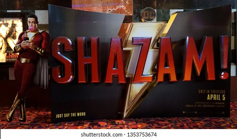 Lakewood, Colorado - March 23, 2019: Standee at theater of DC superhero Shazam! movie. The motion picture features Zachary Levi as adult Billy Batson and has a USA release date of April 5, 2019.